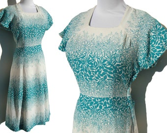 Vintage 40s Dress Turquoise & White Floral Rayon Crepe S