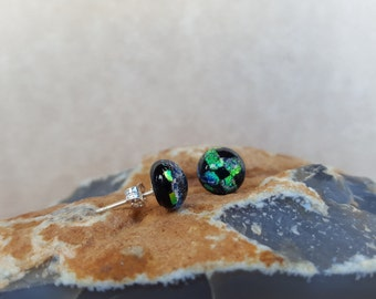 Bright Green and Black Dichroic Fused Glass Post Earrings with reflective Blue Green