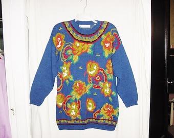 Vintage 80s Tunic Sweater L Chaus Ladies Blue Chenille Shoulderpads