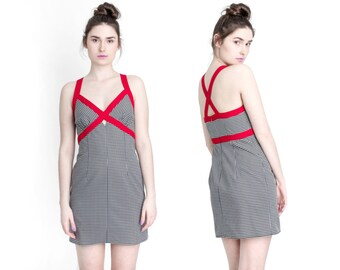 GINGHAM mini dress bodycon red and black vintage Small / Medium