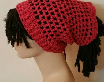 Cotton Dread Sock Tam Dread Tube in Country Red