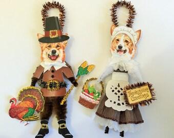 Corgi THANKSGIVING PILGRIM ornaments Dog ornaments vintage style chenille ORNAMENTS set of 2