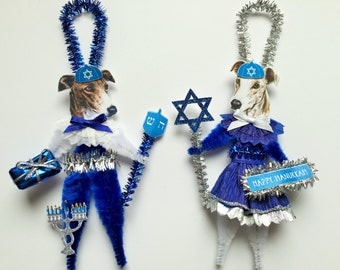Greyhound Dog HANUKKAH ornaments JEWISH holiday Dog ornaments vintage style chenille ORNAMENTS set of 2