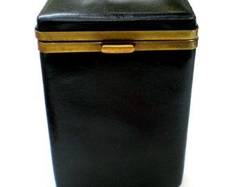 Vintage Cameo Cowhide Black Leather Cigarette Case