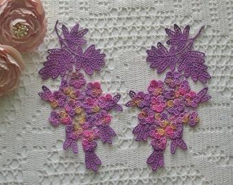 New Floral Design Hand Dyed Venise Lace Appliques, Trim Embellishment