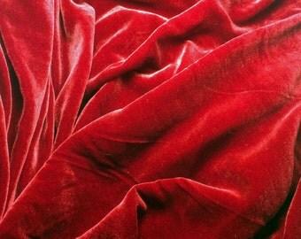RUBY RED Silk Velvet Fabric - fat 1/4