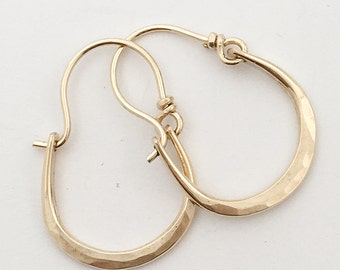 Petite Julia Hammered 14kt Gold Hoops Earrings