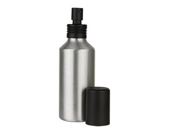 Set of Two 4 Ounce Aluminum Spray Bottles with Black Overcaps