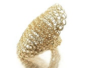 20% OFF - Cleopatra ring  , wire crochet ring , statement ring , gold ring , high front , unique crochet jewelry