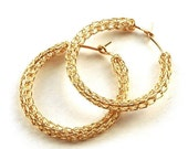 20% OFF - Medium crochet gold HOOP earrings handmade casual hoops unique hoop gold earring jewelry handmade fashion- Gypsy bohemian fashion
