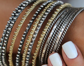 STACKING BANGLES, Stacking Bracelets, ONE Sterling Silver Stacking Bracelet, Sterling Silver Stacker Bangles, One Silver Bangle Bracelet