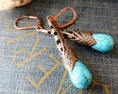 RESERVED Copper Filigree Turquoise Drop Earrings / Boho Jewelry / Rustic / Romantic / Vintage Inspired /Dangle / Designer / Etsy / Cowgirl