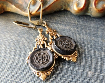 Black Victorian Vintage Earrings / Mourning Button / Mourning Jewelry / Gold Victorian Steampunk Jewelry / Repurposed / Assemblage / Rare