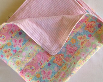 Paisley Butterflies and Pink Stripes Large Flannel Double Sided Receiving Blanket