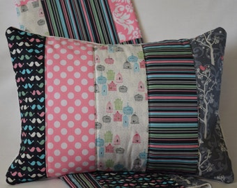 """Birdcage Quilted Pillow Cover 12""""x16"""" - Birds, Trees, Stripes, Polka Dots, Mint Green, Rose Quartz Pink, Serenity Blue, Gray, Woodland"""