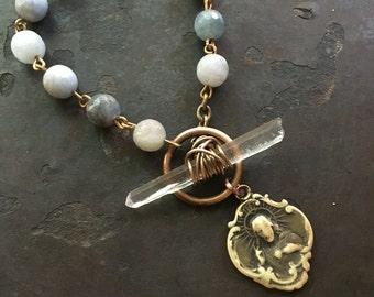 Rosary Bracelet Catholic Jewelry Silver Beaded Bracelet Charm Bracelet Saint Medallion DanielleRoseBean Aquamarine Bracelet