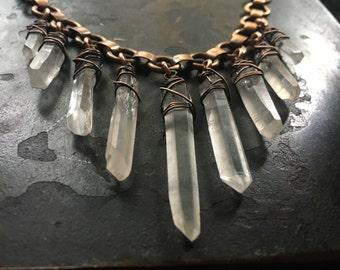 Raw Crystal Necklace / Tribal Fusion / Raw Quartz / Statement Necklace / Boho / Bib Necklace / Rustic Jewelry / DanielleRosebean Necklace
