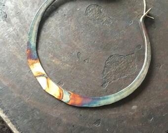 Sterling Silver Hoop Earrings / Silver Hoops / ombre Jewelry / Sterling Hoops / Rustic Jewelry / DanielleRoseBean / Large Hoops