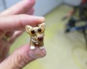 RESERVED for ngoc - Tan Chihuahua Lampwork Bead