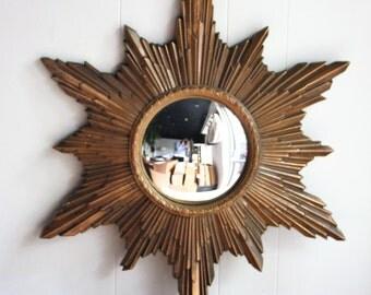 Vintage convex starbusrt mirror, gold gilding