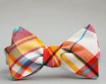 hot pink & yellow madras freestyle bow tie  // madras bow tie //  summer plaid bow tie  //  self tie madras bow tie