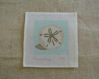 Needlepoint canvas - Sand dollar shell on blue background