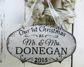 Wedding Ornament, Our 1st CHRISTMAS ORNAMENT, Mr. and Mrs. Christmas Ornament, Personalized Wood Christmas Ornaments