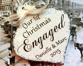 ENGAGED CHRISTMAS ORNAMENT, Mr. and Mrs. Christmas Ornament, Our 1st Christmas, 3 1/4 x 5