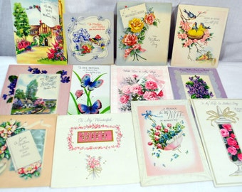 Lot of 12 Vintage Mother's Day Greeting Cards from the 1940s - Scrapbooking - Collage - Altered Art - Repurpose