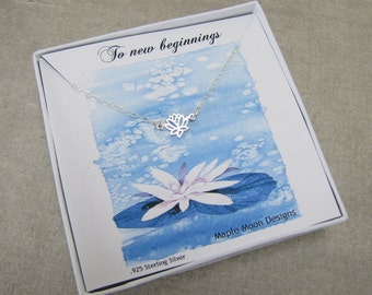 Tiny LOTUS Necklace- Sterling Silver Lotus Bloom  Jewelry