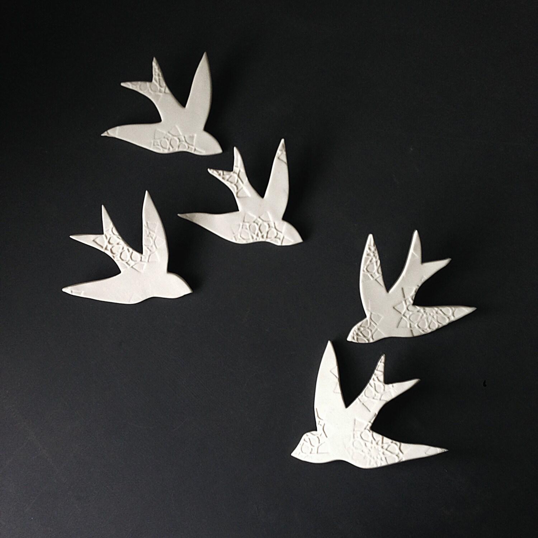 Wall art swallows over morocco white porcelain bird wall zoom amipublicfo Choice Image