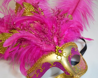 Hot Pink and Gold Glitter Sparkly Venetian Ribbon Tied Mask
