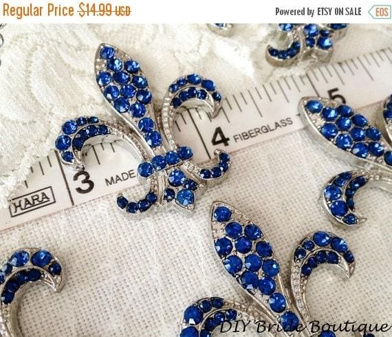 50% OFF Fleur De Lis rhinestone brooch, Blue crystal brooch, Wedding Brooch