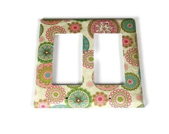 Double Rocker Switchplate  Light Switch Cover  Switch Plate in Pamela  (235DR)
