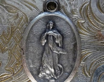 HUGE SALE Assumption Of Blessed Virgin Mary Into Heaven, Italian Catholic Holy Medal With Radiant Halo & Sacred Heart Of Jesus
