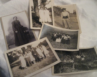 Lot of 6 VINTAGE Paper Photos of Women for Scrapbooking Collage Paper Empherema