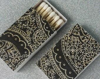10 Matchbox Favors Paisley Henna Black White cream