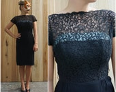 Elegant Vintage 50's/60's Black Wiggle Cocktail Dress with Lace Illusion Bodice and Blue Accent | Medium