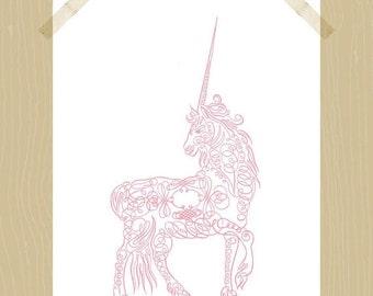 Printable Unicorn 8 x 10 Pink Girl's Room Nursery Art Calligraphic Unicorn Wall Art Animal Printable Horse Mythical Creatures Horn