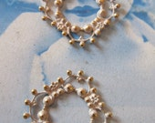 Gold Plated White Frosted Patina Brass Floral Filigree 521WHT x2