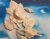 Gold Plated Frosted White Patina Large Blooming Roses Brass Stamping 170WHT x1