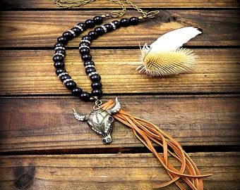 Roughstock, Western Cowgirl Southwestern Boho Black Onyx Steer Head Necklace- Leather Tassel Necklace- Steer Head Necklace- Long Necklace