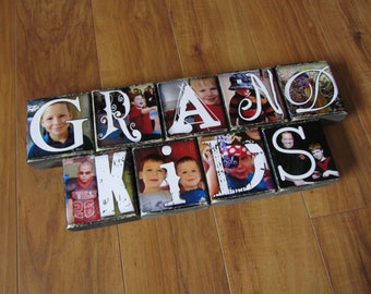 Photo Gift with GRANDKIDS- set of 9 Photo Letter Blocks