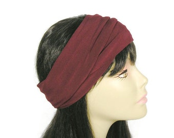 Burgundy Headband Burgundy Head Wrap Boho Head Wrap Cranberry Headband Cranberry Head Wrap Spandex Headband Spandex Head Wrap Athletic Gear