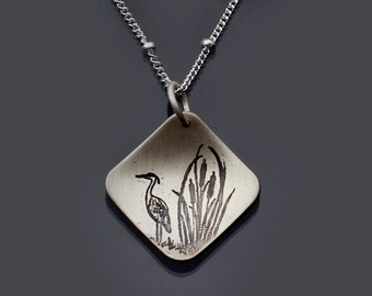Etched Cattails and Great Blue Heron Necklace - Etched Sterling Silver Necklace - Nature Jewelry