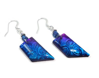 Cobalt Blue Earrings- polymer clay jewelry- Resin Earrings- Gifts for Her- Statement Earrings- Abstract Earrings