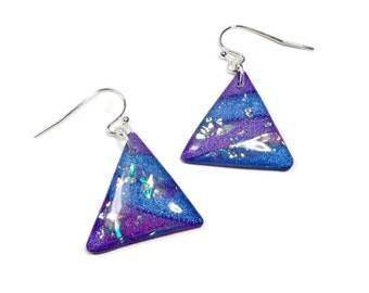 Purple Abstract Earrings- polymer clay jewelry- Resin Earrings- Gifts for Her- Statement Earrings- Triangle Earrings