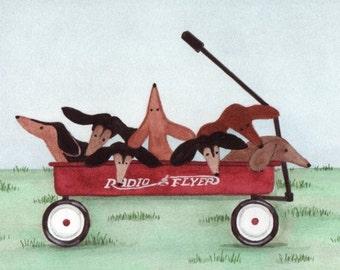 Dachshund (doxie) pups ready for a wagon ride / Lynch signed folk art print