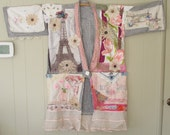 hold for ap - eiffel tower paris flamingo  GEISHA PATCHWORK KIMONO Couture -Altered Antique -Vintage Linen Fabric Collage -Wearable Folk Art