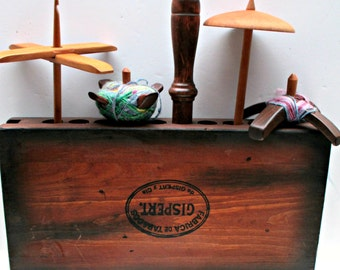 The Spindle Station: Antique Cigar Mold Drop Spindle Display and Storage